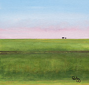 Mississippi River Painting Originals - Cattle on the Levee by Paul Gaj