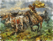 Wild Horse Drawings - Cattle by Shimi Gasaba