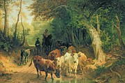 Cattle Framed Prints - Cattle watering in a wooded landscape Framed Print by Friedrich Johann Voltz