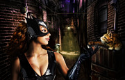 Leather Digital Art Prints - Catwoman Print by Alessandro Della Pietra