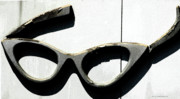 Gray And White Posters - Catwoman Eyeglasses Vintage Sign Poster by AdSpice Studios