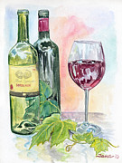 Bordeaux Wine Prints - Caught Between the Two Print by Jana Goode
