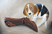Beagle Puppies Paintings - Caught In The Act by Kenny Francis