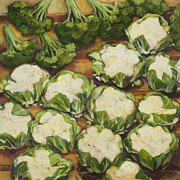 Vegetables Originals - Cauliflower March by Jen Norton