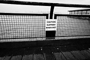 Caution Prints - caution slippery when wet sign on wooden seafront walkway north Vancouver BC Canada Print by Joe Fox