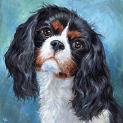 Soulful Eyes Paintings - Cavalier King Charles Spaniel by Hope Lane