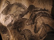 Stone Framed Prints - Cave Painting  Framed Print by Javier Trueba and SPL and Photo Researchers