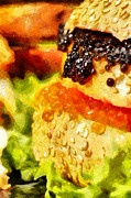 Hamburger Paintings - Caviar and other sandwiches painting by Magomed Magomedagaev