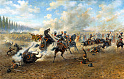 The Horse Digital Art Metal Prints - Cavlary Battle Metal Print by Victor Mazurovskii