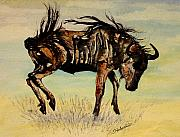 Savannahs Framed Prints - Cavorting Wildebeest Framed Print by Jan Fontecchio