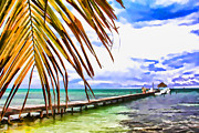 Caribbean Sea Paintings - Caye Caulker Pier by Lee Vanderwalker