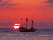 Pirate Ship Framed Prints - Cayman sunset Framed Print by Carey Chen