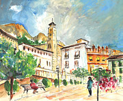 Town Square Drawings Prints - Cazorla 04 Print by Miki De Goodaboom