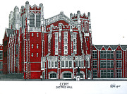 College Buildings Drawings Mixed Media Originals - CCNY Shepard Hall by Frederic Kohli