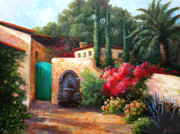 Winery Paintings - Ceago Courtyard-sold by Gail Salituri