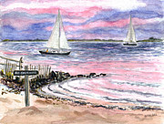 Floods Painting Framed Prints - Cedar Beach Pinks Framed Print by Clara Sue Beym