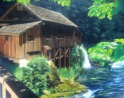 Wooden Building Painting Posters - Cedar Creek Grist Mill Poster by Cireena Katto