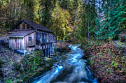 Creek Greeting Cards Prints - Cedar Creek Grist Mill Print by Puget  Exposure