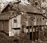 Old Mills Framed Prints - Cedar Creek Grist Mill Sepia Framed Print by Chalet Roome-Rigdon