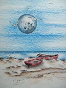Seagull Drawings Originals - Cedar Key Boats by Tom Rechsteiner