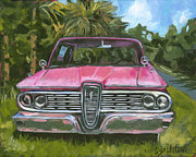 Red Edsel Posters - Cedar Key Edsel - front Poster by Lisa Whitener