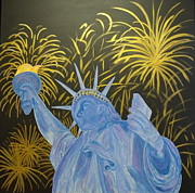 Fourth Of July Painting Originals - Celebrate Freedom by Cheryl Lynn Looker