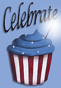 4th July Posters - Celebrate the 4th / Blue Poster by Catherine Holman