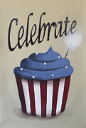 Fireworks Painting Metal Prints - Celebrate the 4th of July Metal Print by Catherine Holman