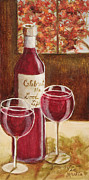 Wine Glasses Painting Originals - Celebrate the Good Times with Oil and Gold Leaf by Vic Mastis by Vic  Mastis