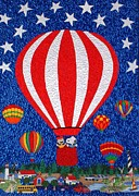 Blue Art Tapestries - Textiles Prints - Celebrating America Print by Jean Baardsen