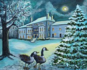 Canadian Geese Painting Posters - Celebrating in the Moonlight Poster by Rita Brown