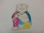 Hindi Mixed Media Prints - Celebration Buddha Print by Gina Alequin