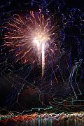 Fireworks Mixed Media Metal Prints - Celebration Fireworks Grand Lake CO 2007 Metal Print by Jacqueline Russell
