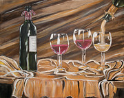 Wine Glasses Paintings - Celebration by Maura Weller