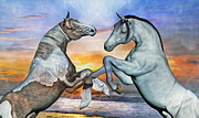 Horses Mixed Media Prints - Celebration of Dawn Print by Betsy A Cutler East Coast Barrier Islands
