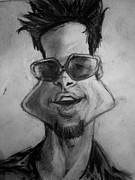 Caricature Drawings Posters - Celebrities Caricature Brad Pitt B/W Poster by Nick Sider