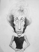 Caricature Drawings Posters - Celebrities Caricature - Robin Gibbs - B/W Poster by Nick Sider