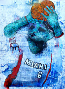 Lebron James Digital Art Posters - Celebrity Hoops Poster by James Huntley