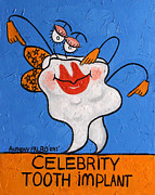 Cubist Digital Art Posters - Celebrity Tooth Implant Poster by Anthony Falbo