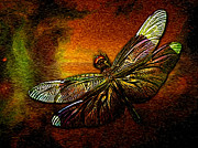 Medicine Mixed Media Prints - Celestial Dragonfly Print by The Feathered Lady