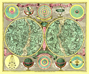 Antique Map Digital Art Posters - Celestial Map Poster by Gary Grayson