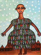 Contemporary Tribal Art Paintings - Celestial Mother Nature by Ephrem Kouakou