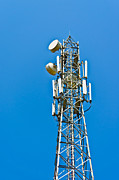 Cellphone Framed Prints - Cell tower and radio antennae Framed Print by Saurabh and Geetanjali Nande