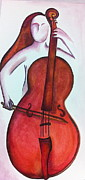 Red Band Painting Originals - Cellist in Red by Ashley Grebe
