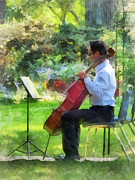 Concerts Posters - Cellist in the Garden Poster by Susan Savad