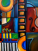 Colorful Abstract Drawings - Cello Again by Fidostudio by Tom Fedro - Fidostudio