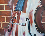 Chello Prints - Cello and Brick Print by Vanda Bleavins
