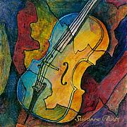 Musical Art Posters - Cello Babe Poster by Susanne Clark