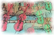 Rick Todaro Prints - Cello Players Rooftop Print by Rick Todaro