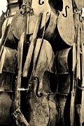 Strings Digital Art Posters - Cellos 6 Sepia Poster by Rob Hans